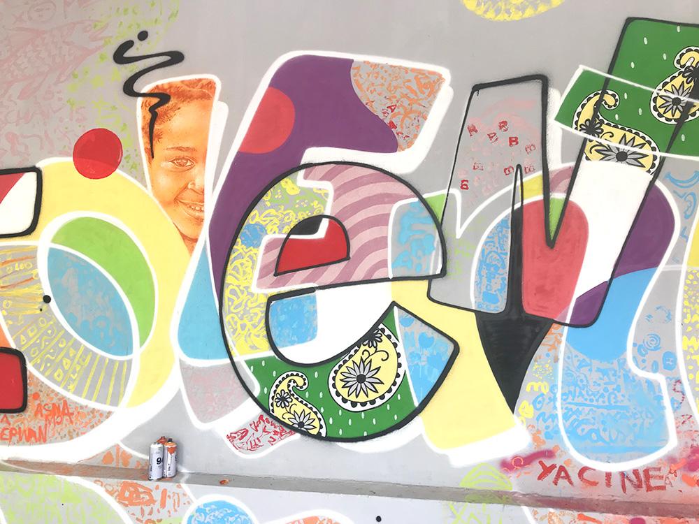 Fresque, murale, école, française, comores, atelier, participation, enfant, art contemporain.